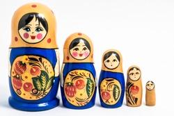 Matryoshka family. Russian doll on a White background. Matrioska art.