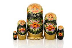 Matryoshka family set traditional wooden beautiful nested disassembled dolls with painting art on over white background. Color toy russian souvenir.