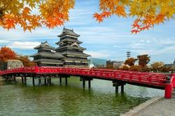Matsumoto Castle in Autumn at Matsumoto city, Nagano prefecture, Japan. Beautiful autumn in Japan.