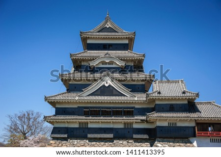 Matsumoto Castle , Nagano Prefecture, Japan. which has been listed as a National Treasure. Roofline detail of original keep (Tenshu)