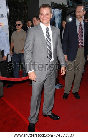 "Matt Damon at the world premiere of ""The Bourne Ultimatum"" at the Arclight Theatre, Hollywood. July 26, 2007  Los Angeles, CA Picture: Paul Smith / Featureflash"