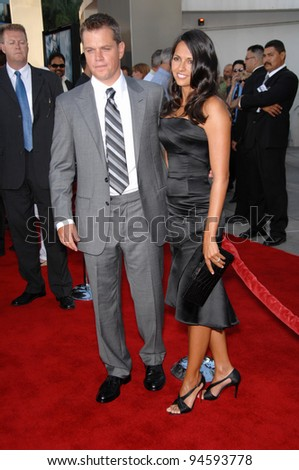 "Matt Damon & wife Luciana Barroso at the world premiere of ""The Bourne Ultimatum"" at the Arclight Theatre, Hollywood. July 26, 2007  Los Angeles, CA Picture: Paul Smith / Featureflash"