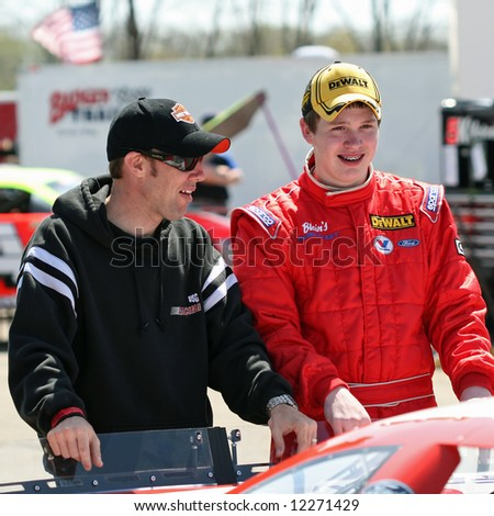 Matt Kenseth and son Ross Kenseth at Madison International Speedway opener May 4, 2008
