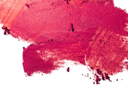 Matt satin finished blusher or eye shadow pink red smudge palette isolated white background medium color
