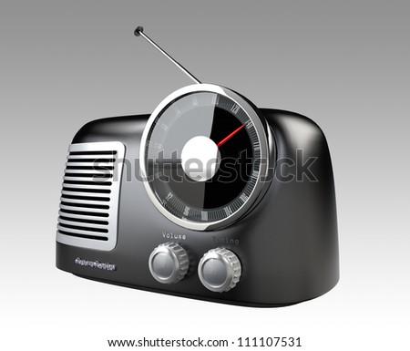 matte black stylish retro radio - stock photo