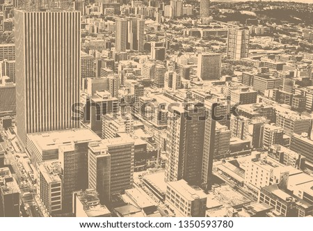 Matte vintage. Skyscrapers in the city. City life. Amazing urban landscape. Awesome photo of Megalopolis. Black and White Photography. City Business District. Aerial view. Beautiful background.