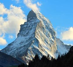 Matterhorn as seen from Zermatt at sunset, Switzerland