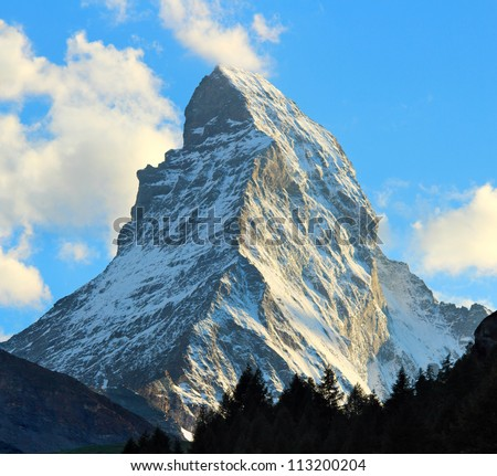 Matterhorn as seen from Zermatt at sunset, Switzerland