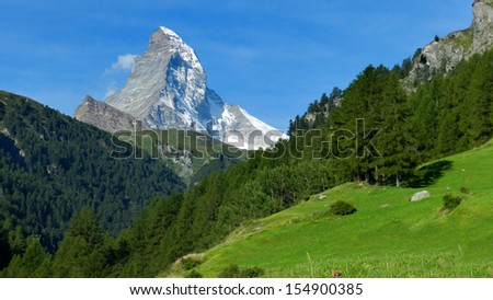 Matterhorn as seen from Zermatt in the morning, Switzerland