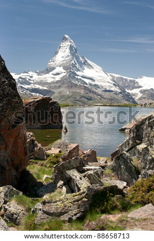 Matterhorn mountain reflecting in Stellisee, Alps, Switzerland