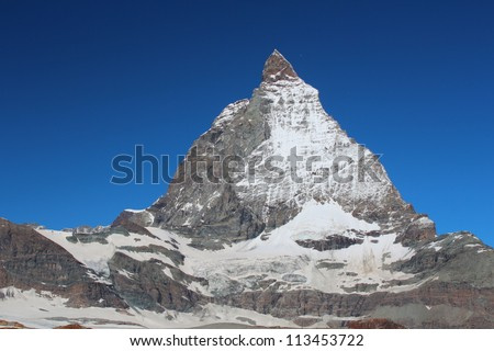 Matterhorn peak against clear blue sky