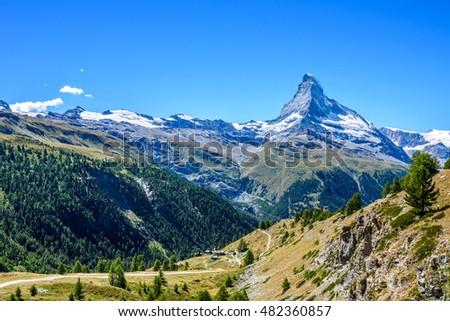 Matterhorn - small village with houses in beautiful landscape of Zermatt, Switzerland