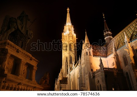 Matthias church and Saint Istvan statue in Budapest, Hungary