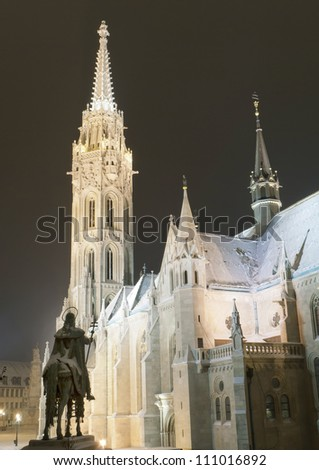 Matthias church at winter in Royal Palace of Buda, Budapest, Hungary