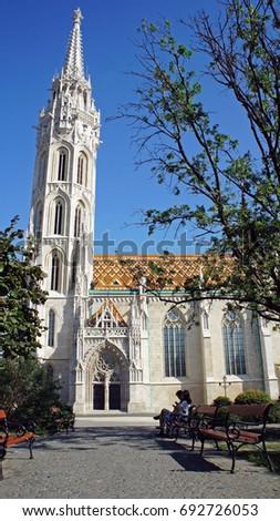 Matthias church, view from the park, Buda, Budapest, Hungary #692726053