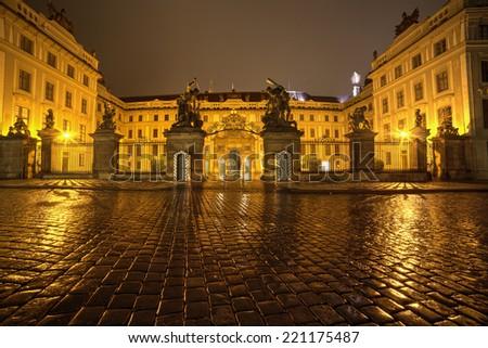 Matthias Gate, at Hradcany Castle Prague  at night.