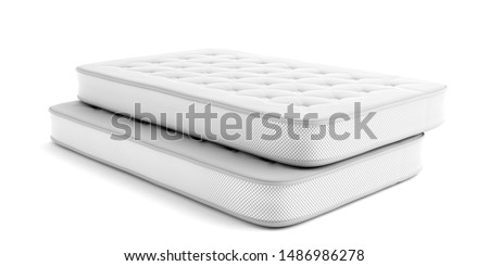 Mattresses stacked isolated on white background. 3d illustration. Comfort sleep, good dreams