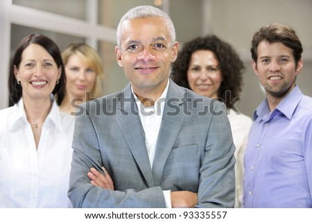 mature african american businessman and business team