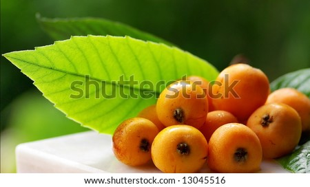 Mature and flavorful Loquats with green leaf in deep.