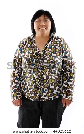 mature asian lady against white background