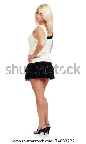 stock photo : mature blond woman in mini skirt. Save to a lightbox ▼