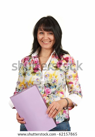 mature business lady with a folder  isolated on a white  background