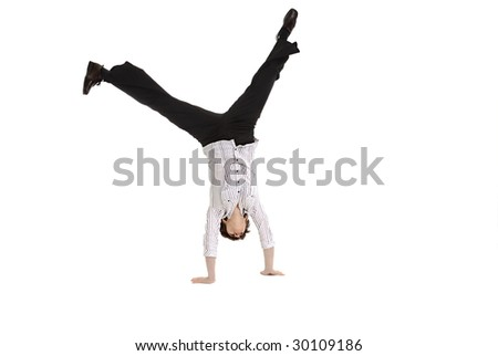 Mature business woman doing a cartwheel