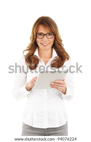 Mature business woman holding a digital touch screen tablet computer. White background.