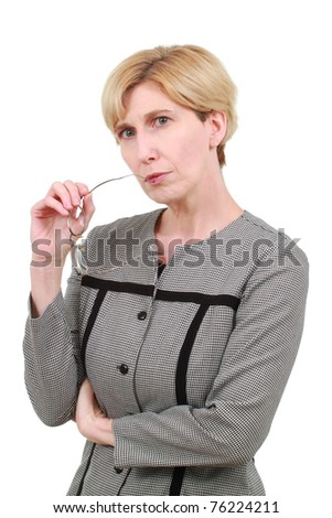 stock photo : Mature business woman with glasses. Save to a lightbox ▼