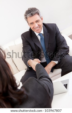 Mature businessman at the hiring interview in the office