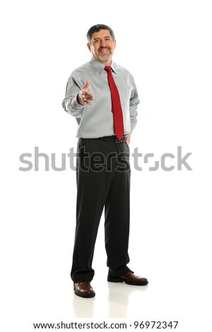 Mature businessman extending a handshake isolated on a white background