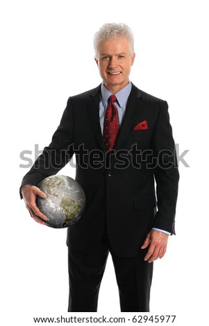 Mature businessman holding earth isolated over white background