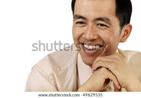 Mature businessman of Asian portrait with happy smiling expression on white background.