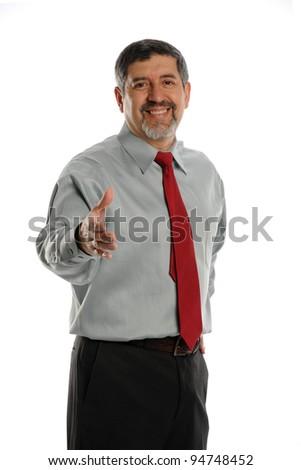 Mature Businessman offering handshake on a white background