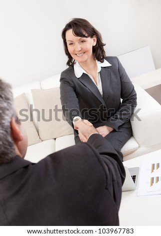 Mature businesswoman at the hiring interview in the office