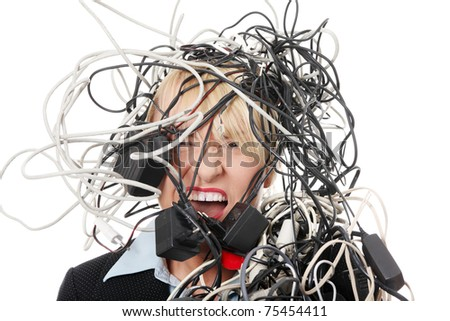 Mature businesswoman's screaming in cables. Isolated on white background.