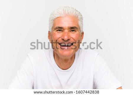 Mature caucasian man isolated on white