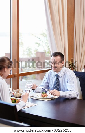 Mature couple in a restaurant