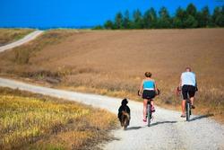 Mature couple on bike. Sport, active lifestyle