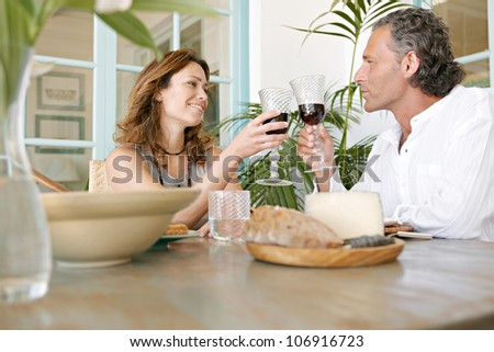 Mature couple toasting with red wine while having healthy lunch outdoors.