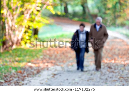 Mature couple walking in the park. Blurred motion. Autumn landscape.