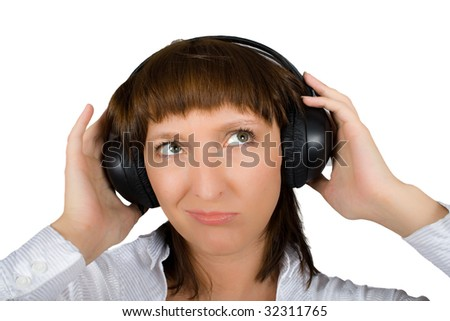 mature female in headphones isolated on white with clipping path