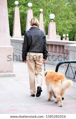 Mature female walking her dog in a public park outdoors.