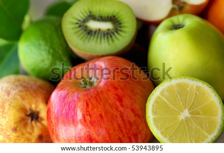 Mature fruits background.
