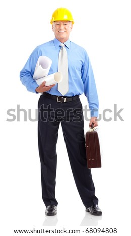 Mature handsome architect. Isolated over white background