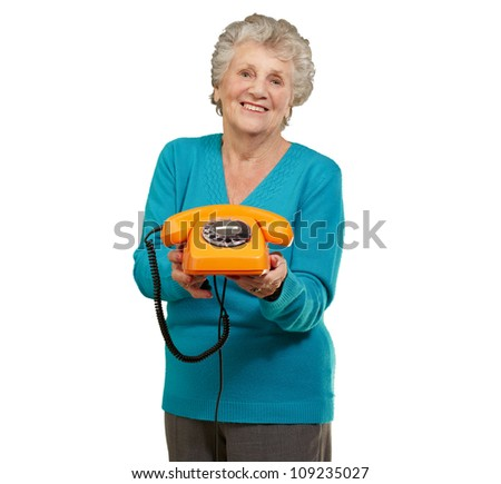 Mature Happy Woman Holding Telephone On White Background