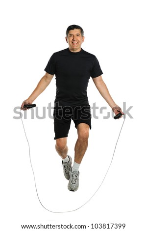Mature Hispanic man jumping rope isolated over white background