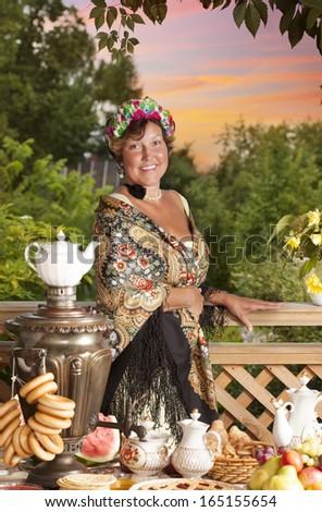 Mature Lady from the Victorian era. Kustodiev Russian artist style