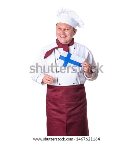 Mature male cook with Finland flag isolated on a white background.