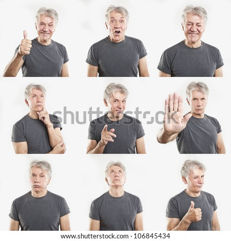 mature man face expressions composite isolated on white background